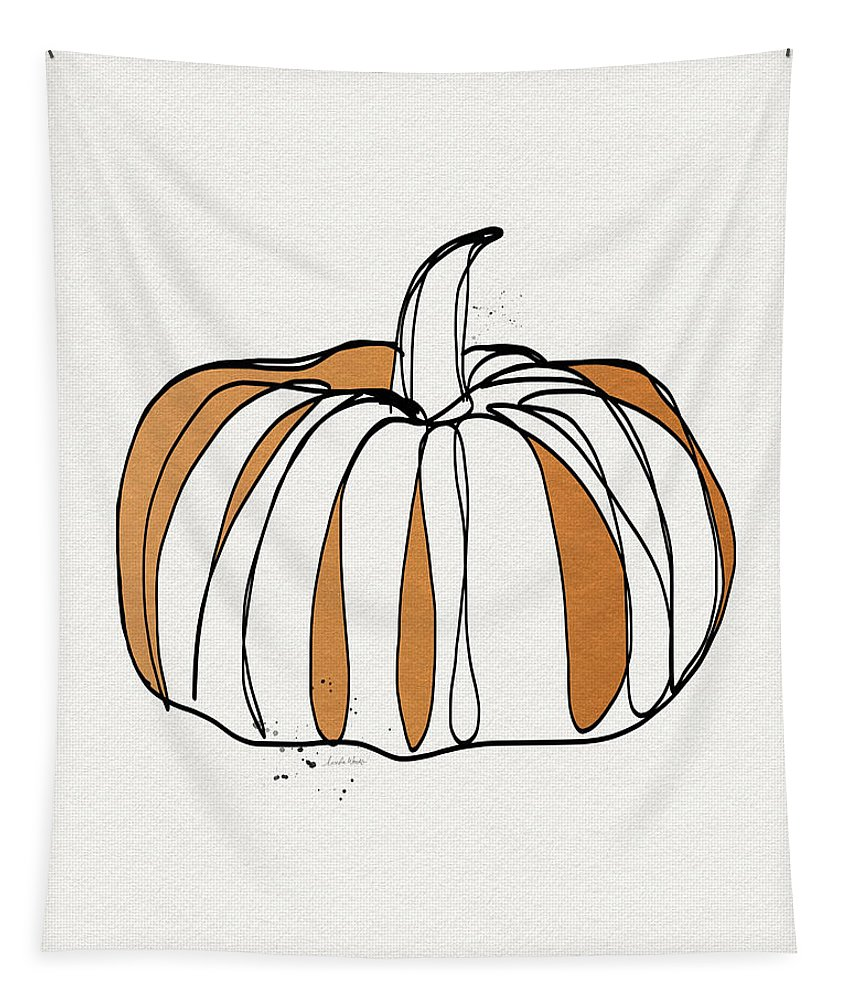 Pumpkin Tapestry featuring the drawing Contemporary Pumpkin- Art By Linda Woods by Linda Woods