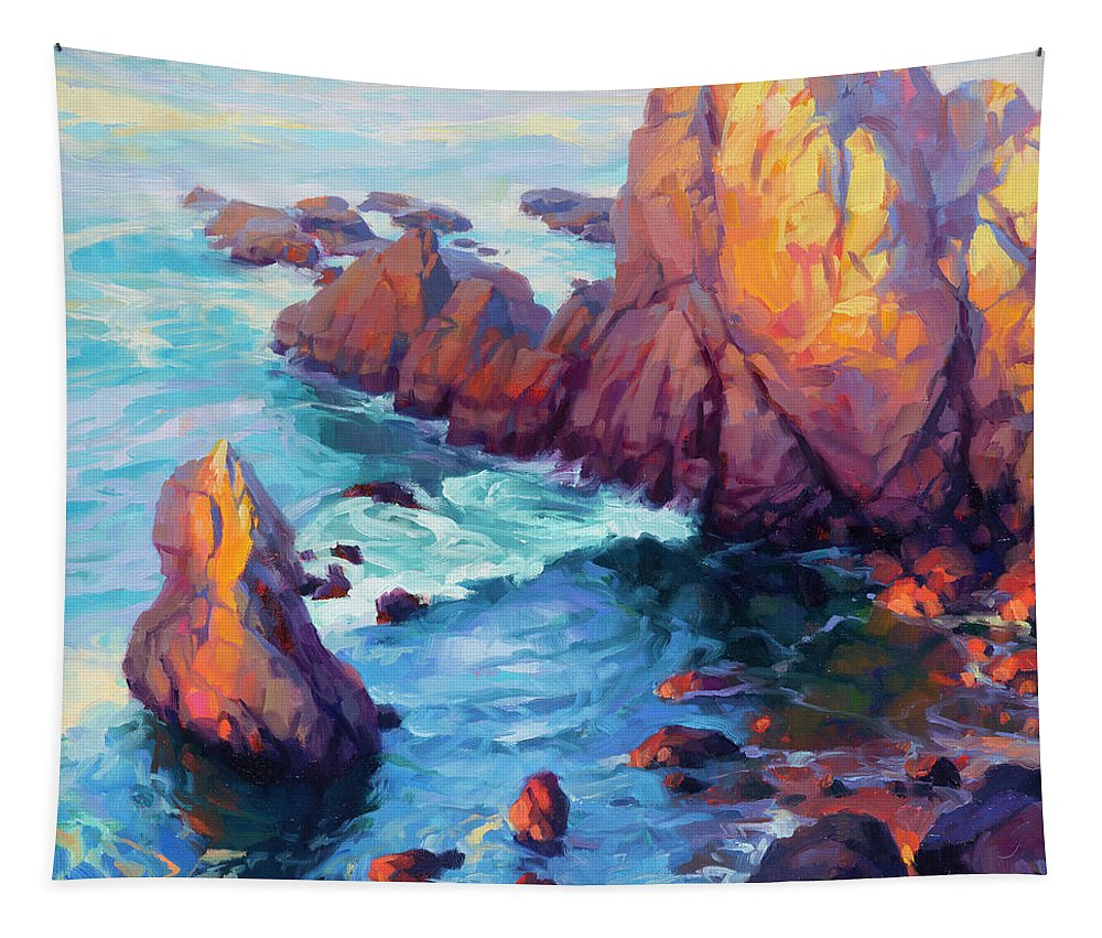 Ocean Tapestry featuring the painting Convergence by Steve Henderson