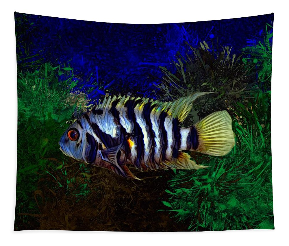 Convict Tapestry featuring the digital art Convict Cichlid Fish by Scott Wallace Digital Designs