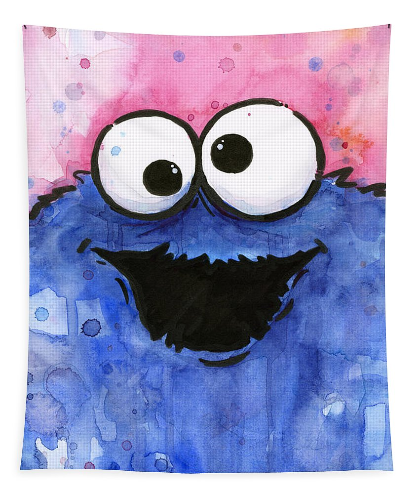 Cookie Tapestry featuring the painting Cookie Monster by Olga Shvartsur