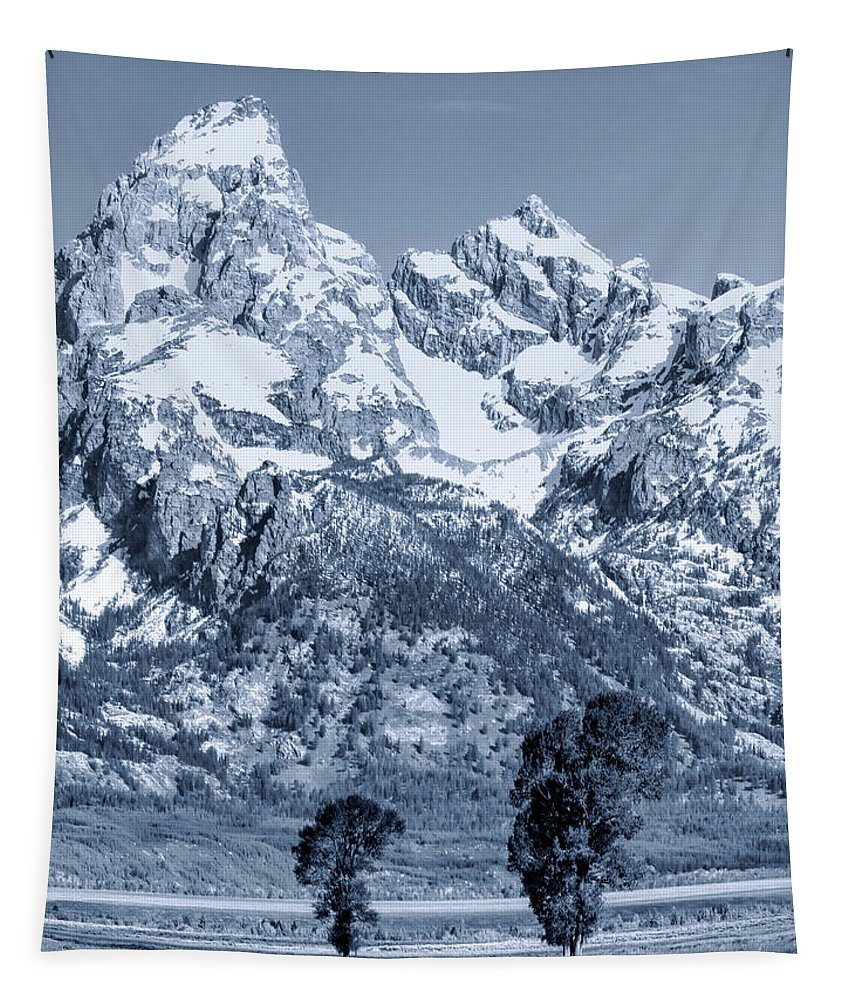 Cool Blue Monotone Grand Teton Tapestry featuring the photograph Cool Blue Monotone Grand Teton by Dan Sproul