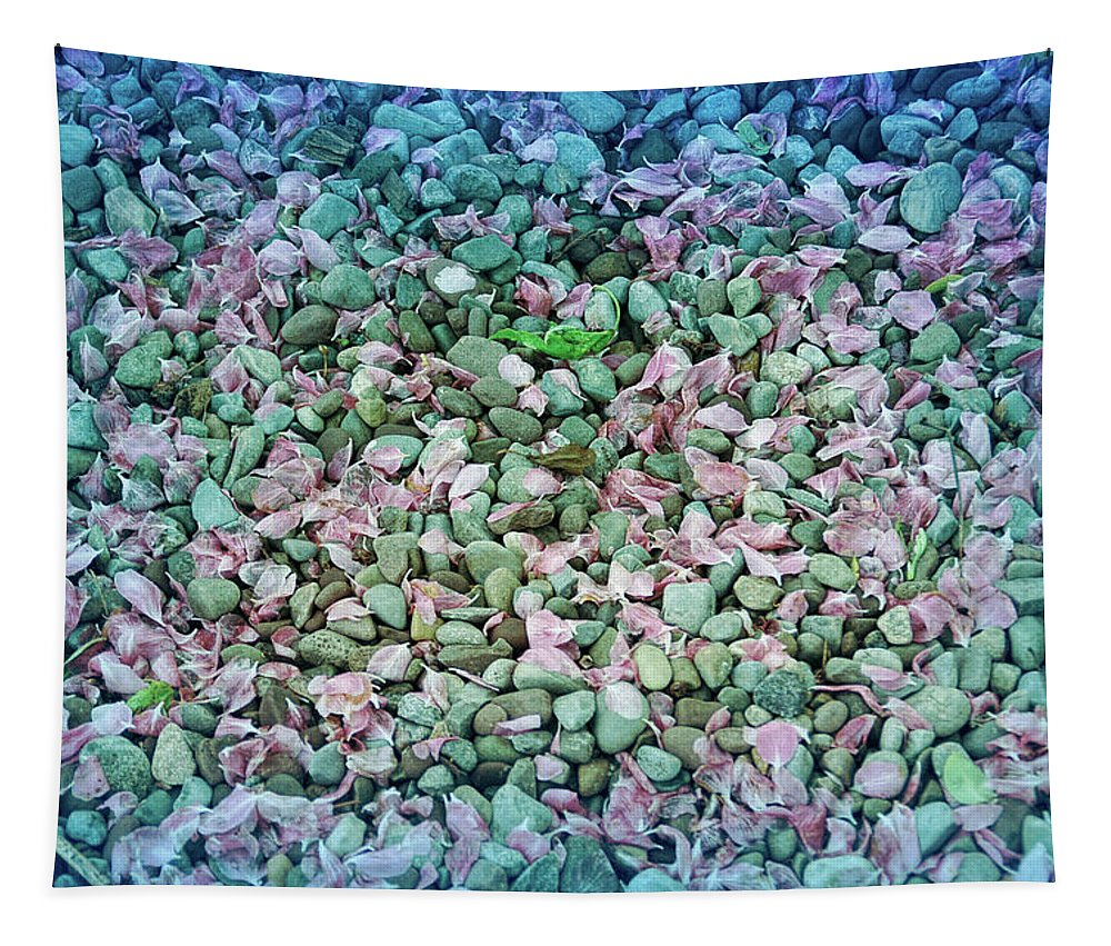 Stone Tapestry featuring the photograph Cool Blue Pink Petals On Stones by Aimee L Maher ALM GALLERY