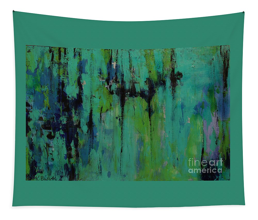 Abstract Tapestry featuring the painting Cool Deep Waters by Karla Britfeld
