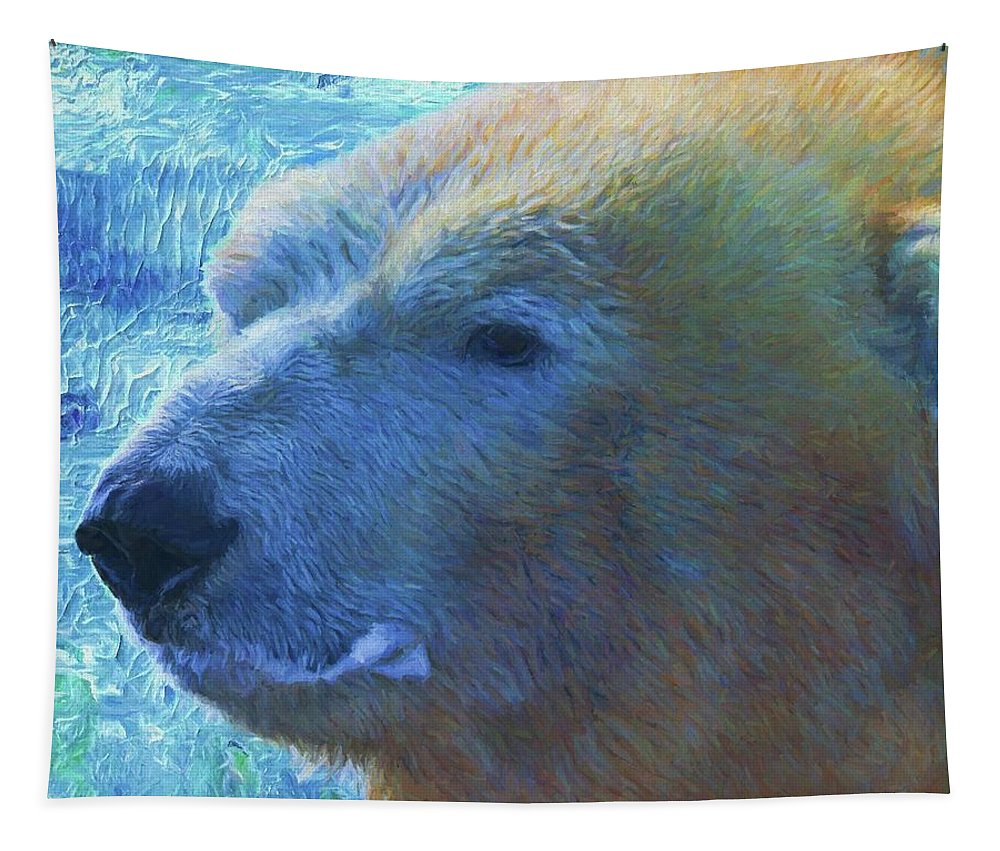 Cool Polar Bear Tapestry featuring the painting Cool Polar Bear by Dan Sproul