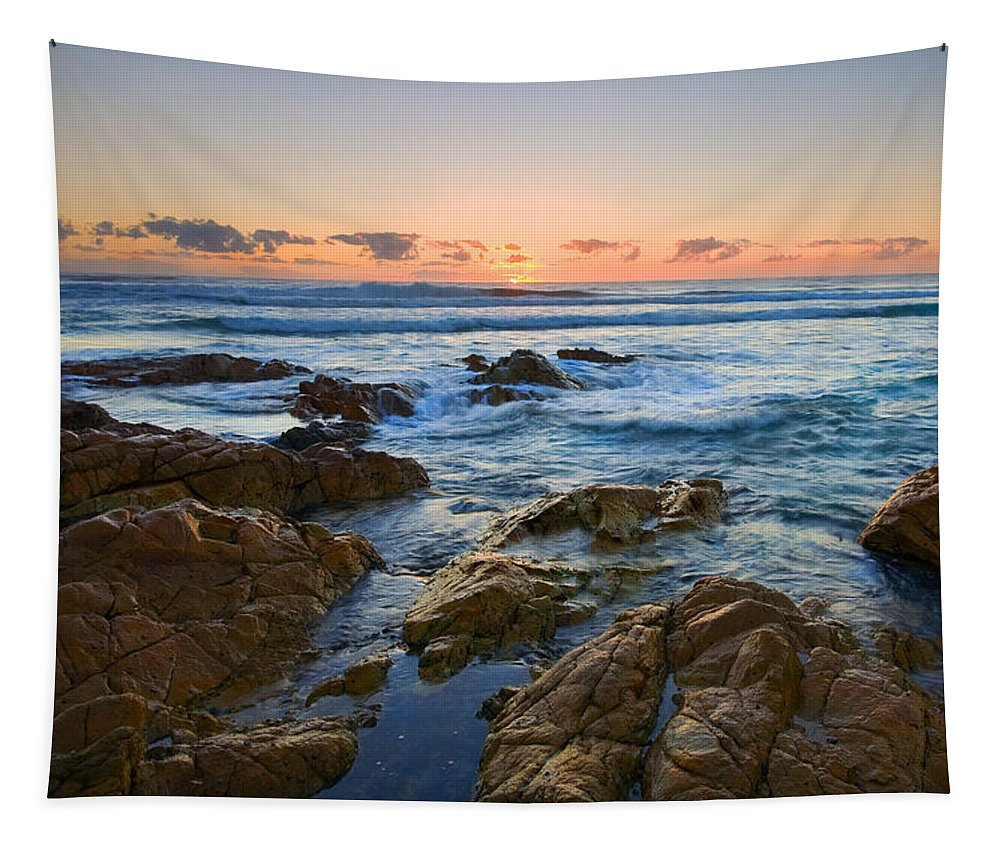 Seascape Tapestry featuring the photograph Coolum Dawn by Mike Dawson