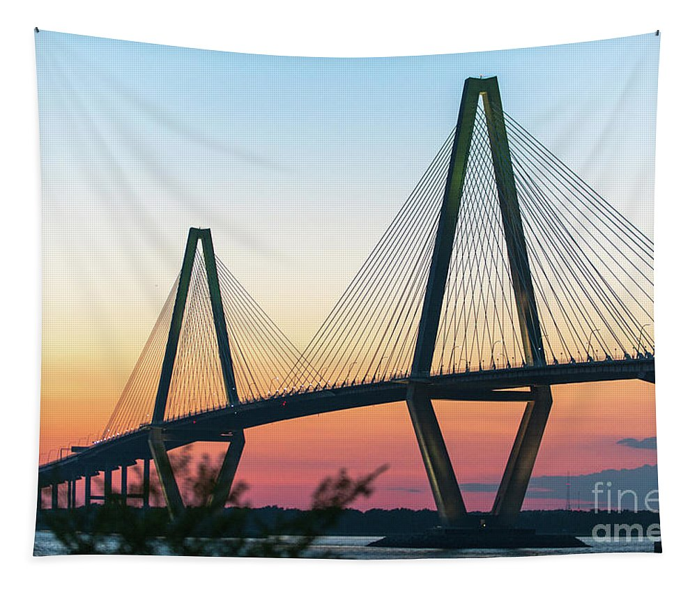 Arthur Ravenel Jr. Bridge Tapestry featuring the photograph Cooper River Diamonds by Dale Powell