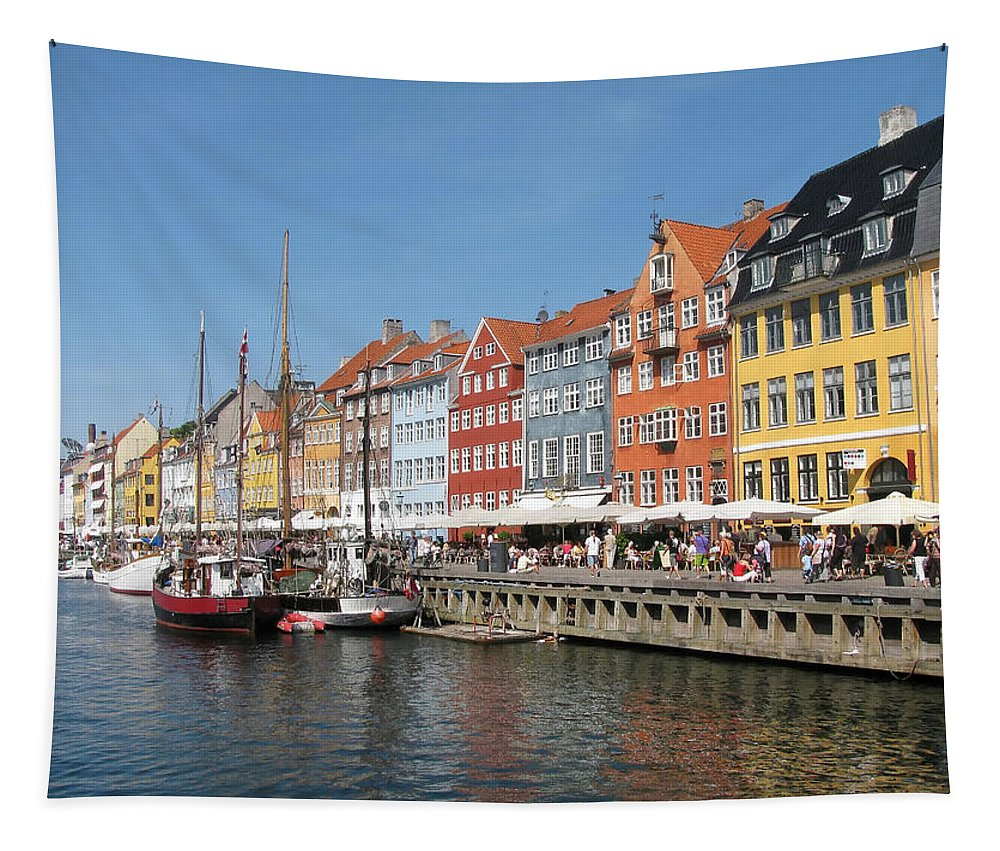 Architecture Tapestry featuring the photograph Copenhagen Harbor by Mary Lane