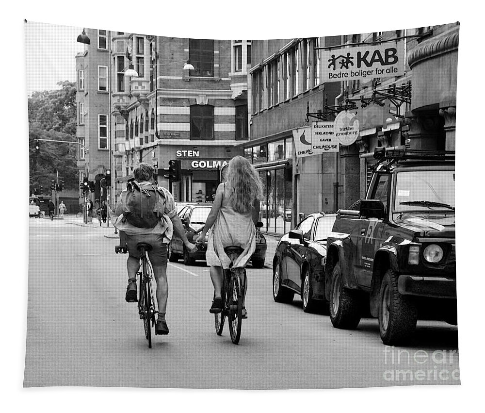 Lovers Tapestry featuring the photograph Copenhagen Lovers On Bicycles Bw by Catherine Sherman