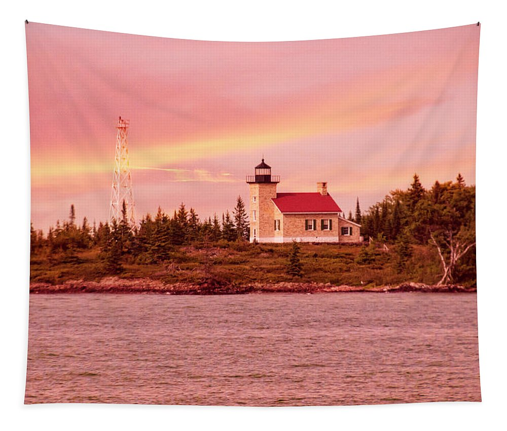 Copper Harbor Lighthouse Tapestry featuring the photograph Copper Harbor Lighthouse by Phyllis Taylor