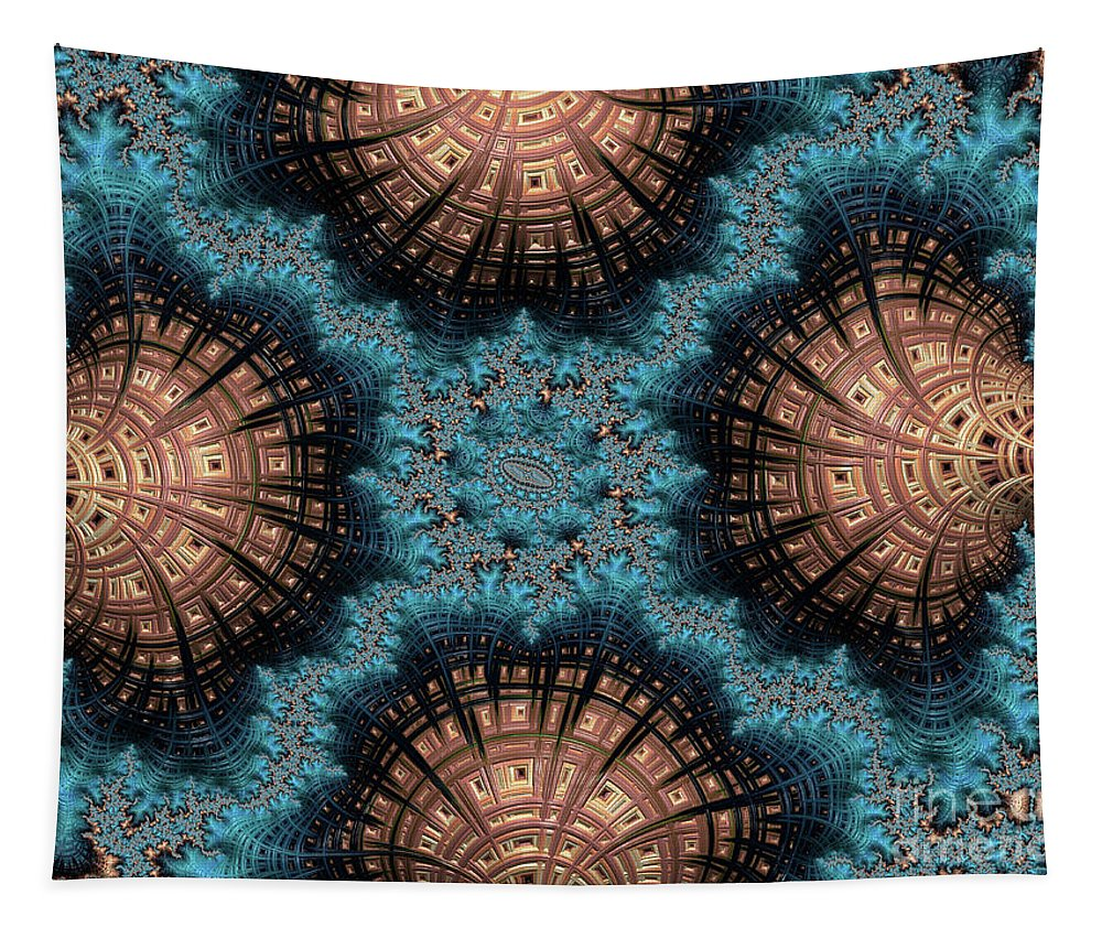 Fractals Tapestry featuring the digital art Copper Shells by Elisabeth Lucas