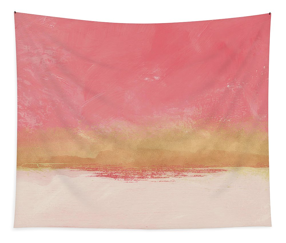 Abstract Tapestry featuring the mixed media Coral And Gold Abstract 1- Art By Linda Woods by Linda Woods