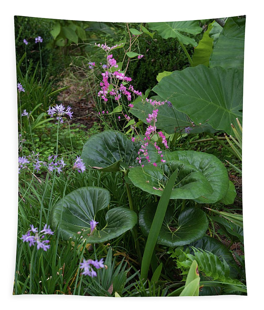Garden Tapestry featuring the photograph Coral Flower Path by Dale Powell