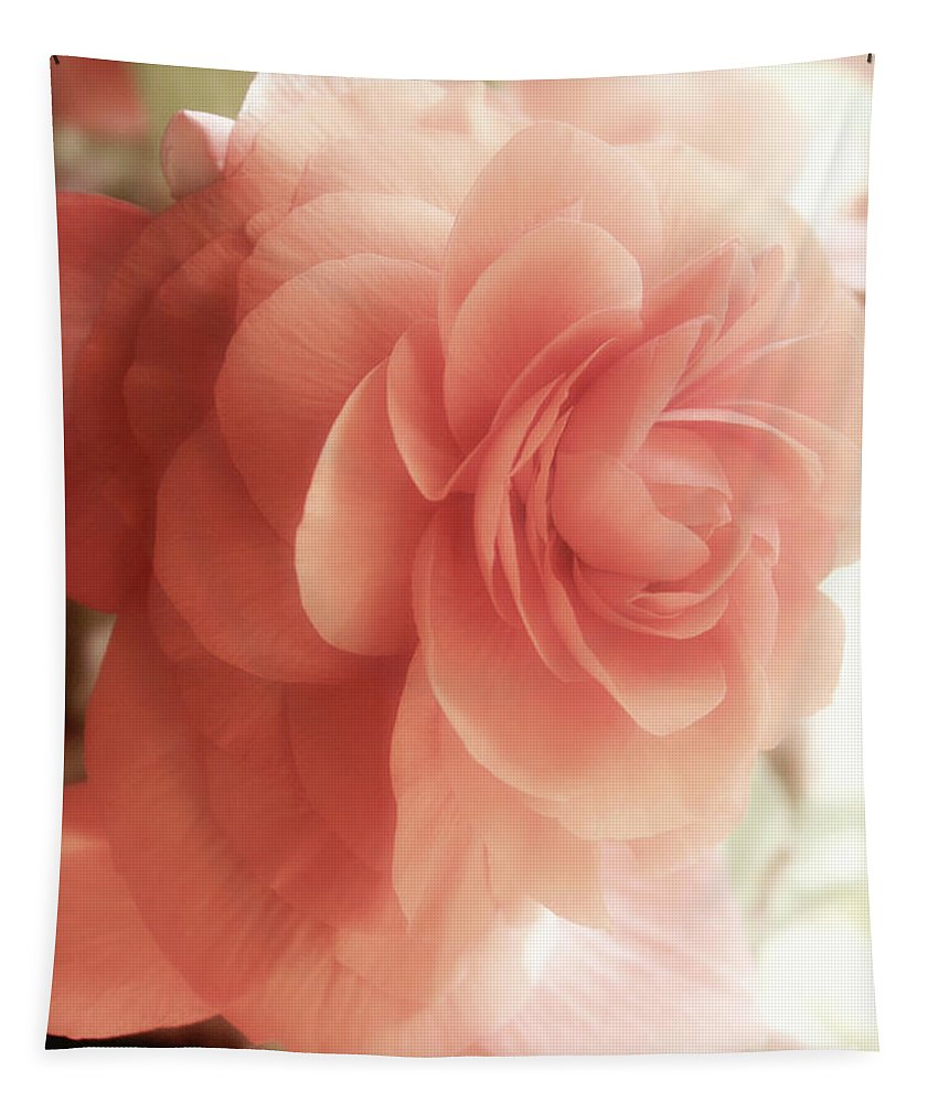 Flower Tapestry featuring the painting Peach Petals Glow by Mindy Sommers