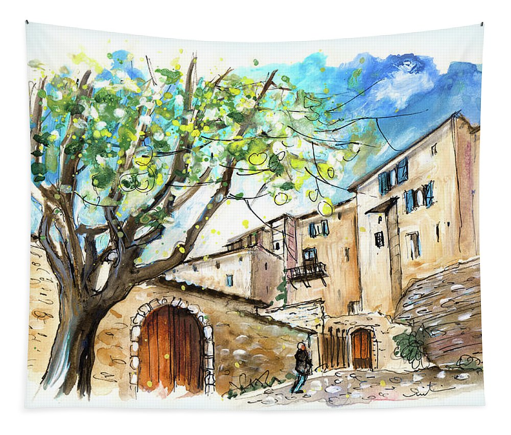 Travel Tapestry featuring the painting Cordes Sur Ciel 02 by Miki De Goodaboom