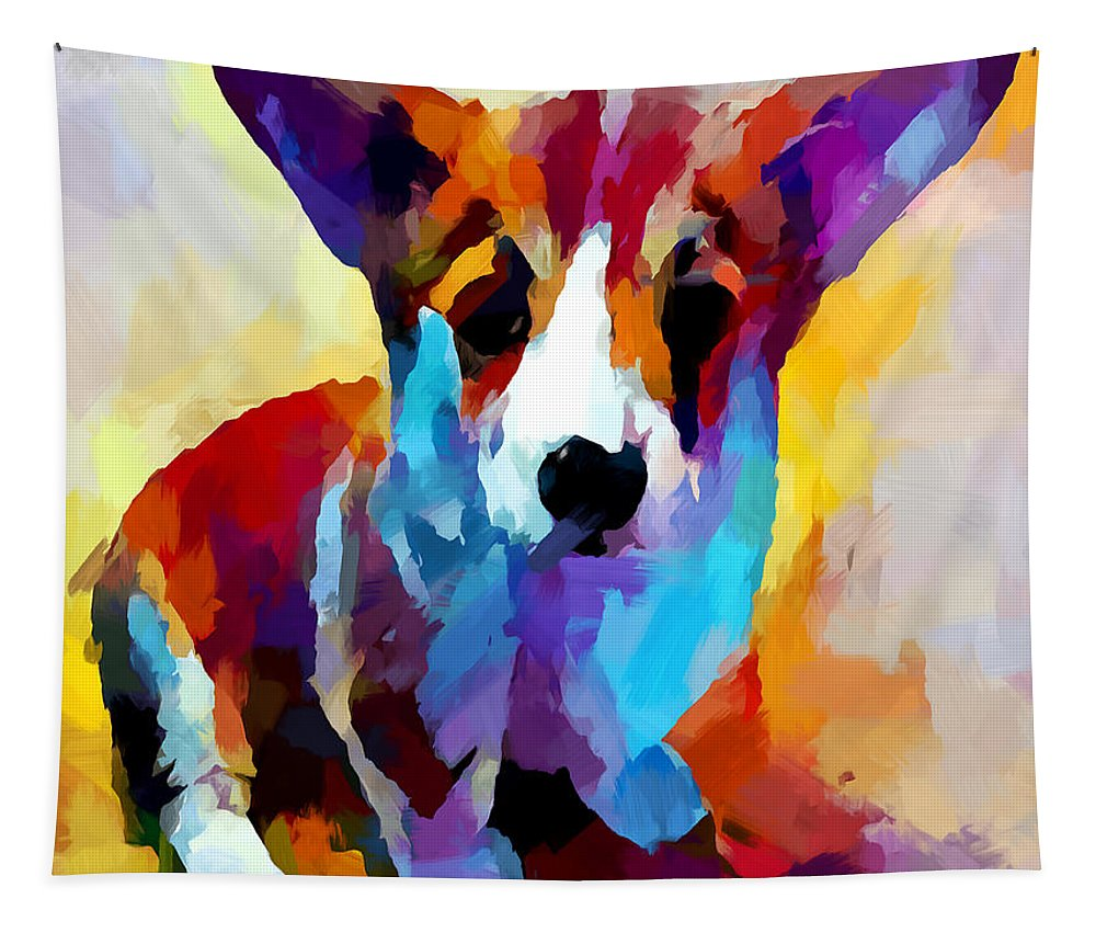 Corgi Tapestry featuring the painting Corgi 2 by Chris Butler