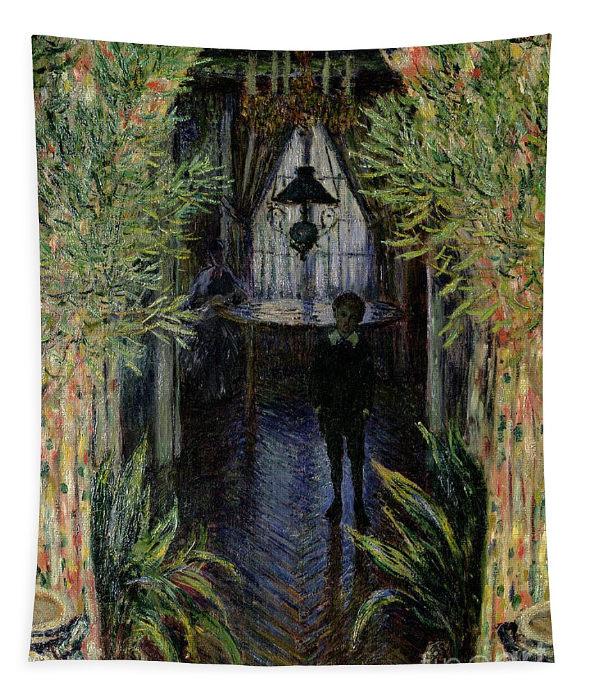Corner Of A Flat At Argenteuil Tapestry featuring the painting Corner Of A Flat At Argenteuil by Claude Monet