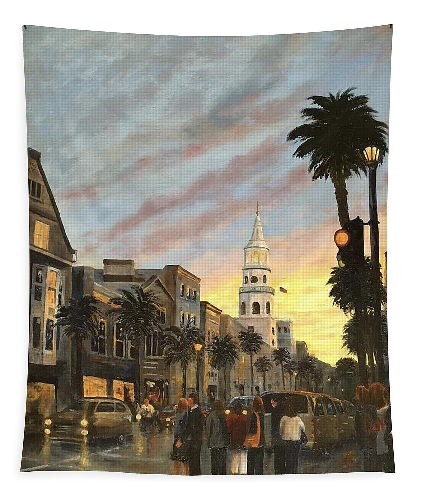 Tapestry featuring the painting Corner Of Church And Broad by Rosie Phillips