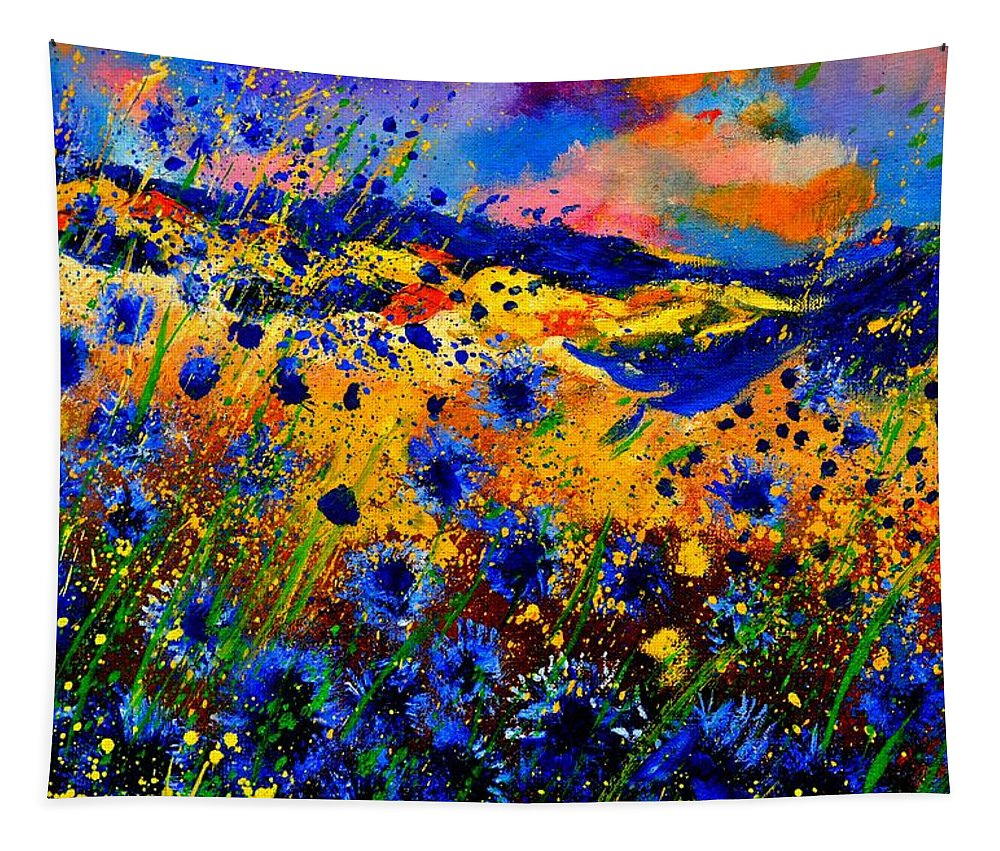 Tapestry featuring the painting Cornflowers 746 by Pol Ledent