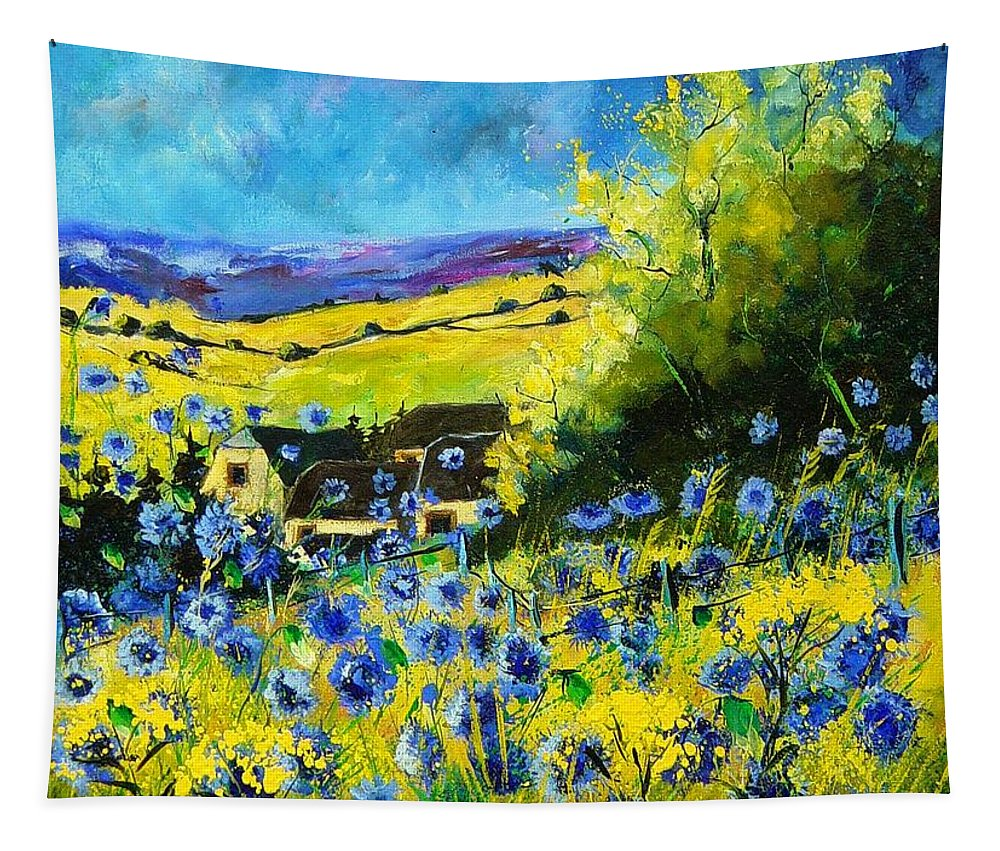 Flowers Tapestry featuring the painting Cornflowers In Ver by Pol Ledent