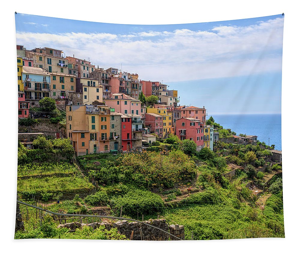 Joan Carroll Tapestry featuring the photograph Corniglia Cinque Terre Italy by Joan Carroll
