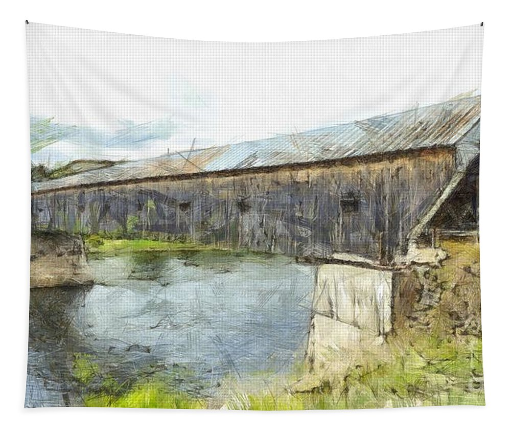 Colored Tapestry featuring the photograph Cornish Windsor Covered Bridge Pencil by Edward Fielding