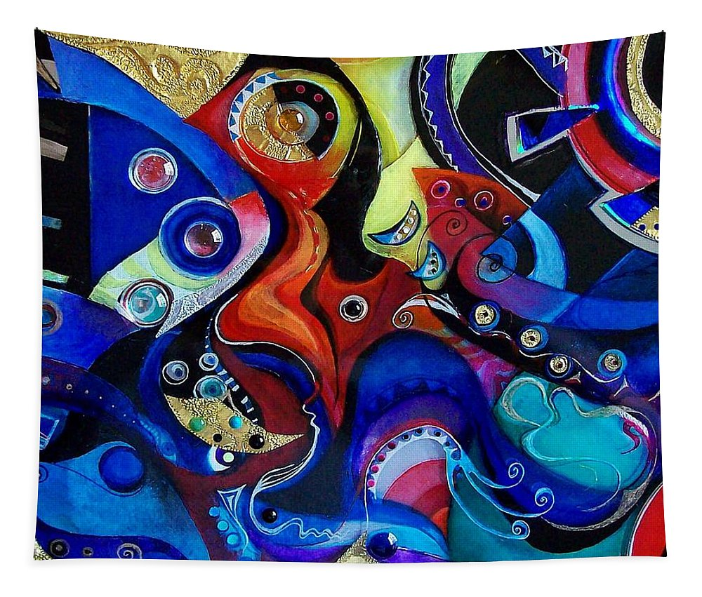 Abstract Acrylic Epoxy Gem Metal Pen Gel Ink Tapestry featuring the mixed media Correspondances by Wolfgang Schweizer