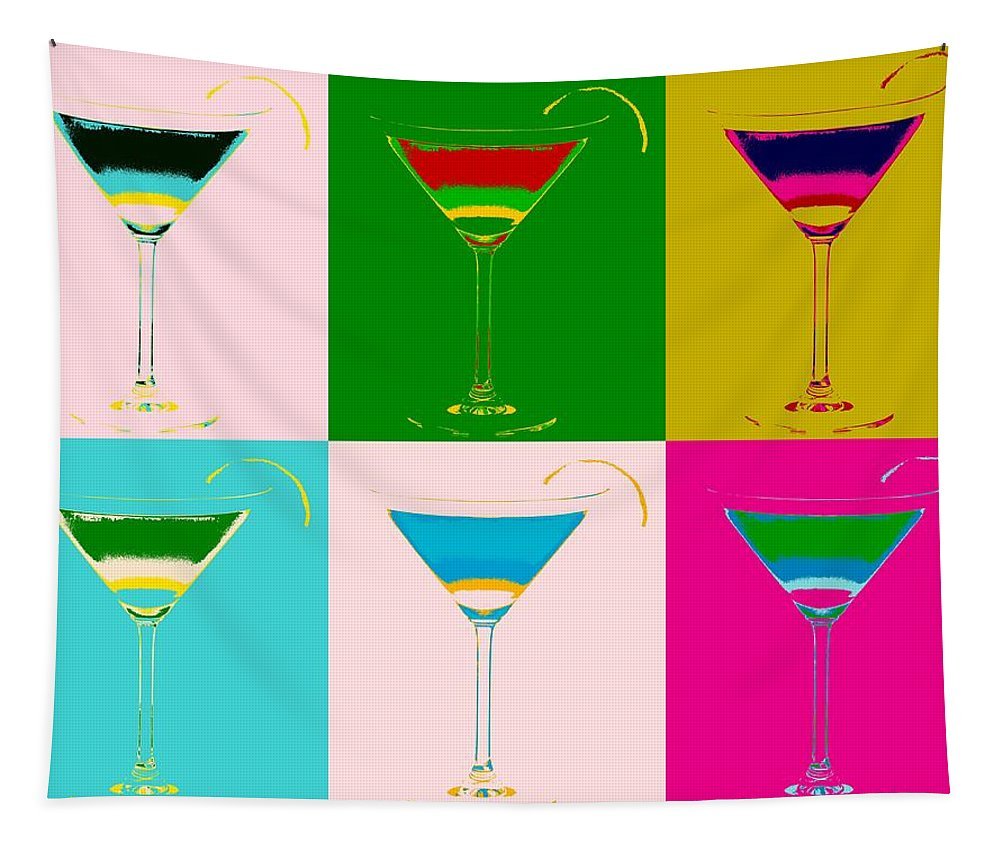 Cosmopolitan Pop Art Panels Tapestry featuring the digital art Cosmopolitan Pop Art Panels by Dan Sproul