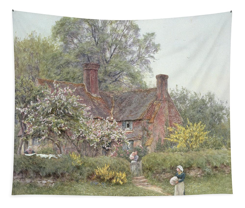 Cottage Tapestry featuring the painting Cottage At Chiddingfold by Helen Allingham