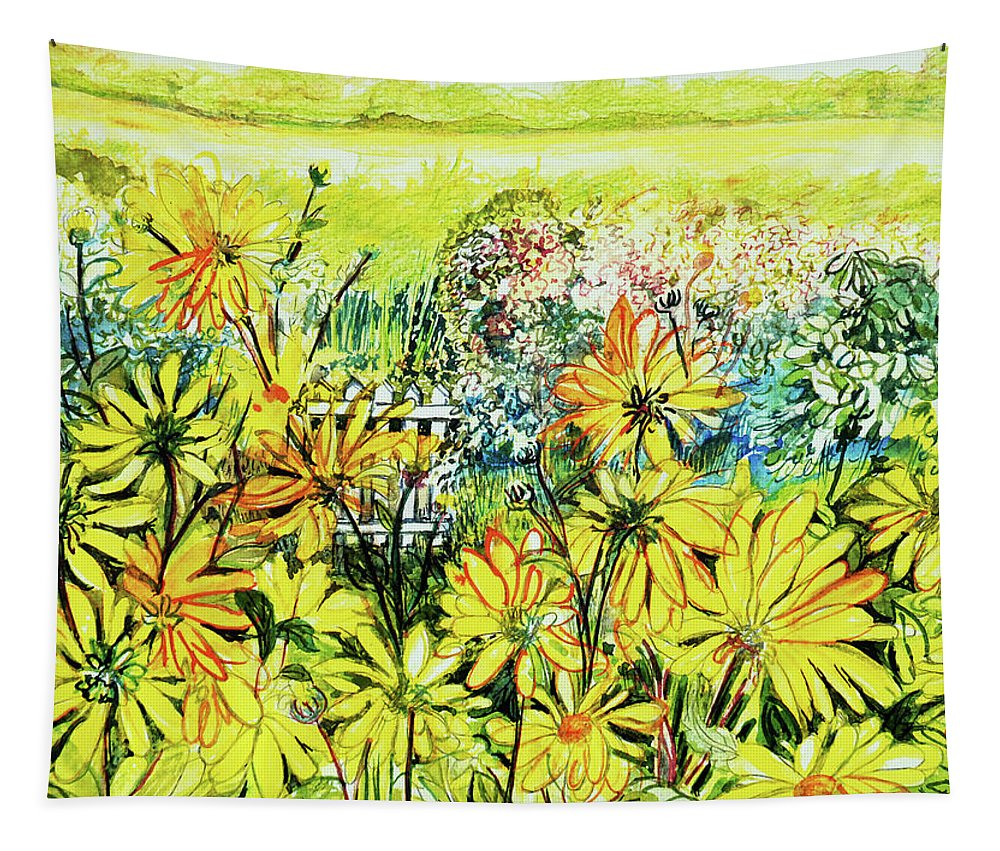 Cottage Gate Seen Through Sun Daisies Tapestry featuring the painting Cottage Gate Seen Through Sun Daisies by Joan Thewsey