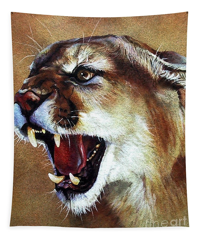 Southwest Art Tapestry featuring the painting Cougar by J W Baker