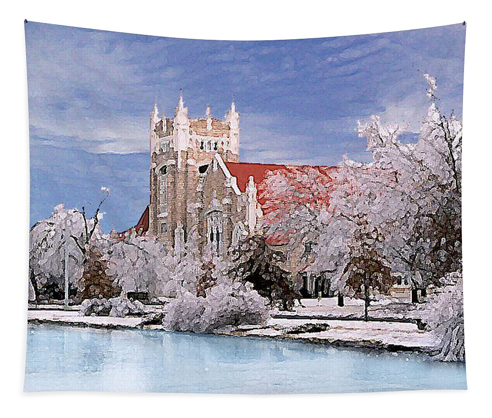 Winter Tapestry featuring the photograph Country Club Christian Church by Steve Karol