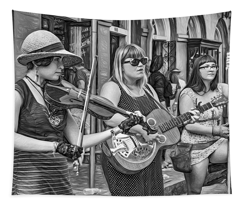 French Quarter Tapestry featuring the photograph Country In The French Quarter 3 Bw by Steve Harrington