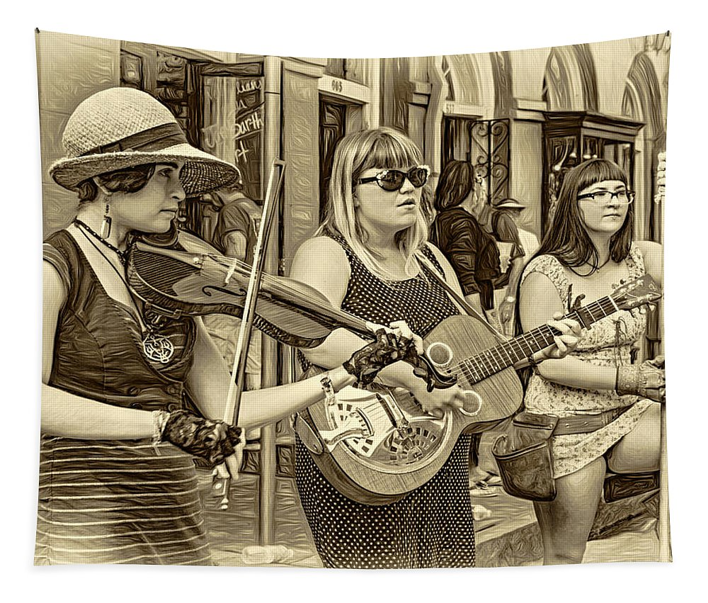 French Quarter Tapestry featuring the photograph Country In The French Quarter 3 Sepia by Steve Harrington