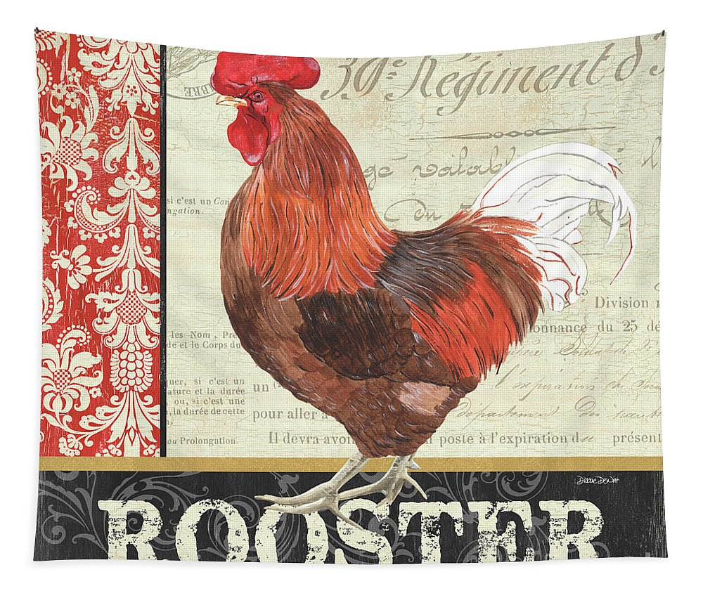 Chicken Tapestry featuring the painting Country Rooster 2 by Debbie DeWitt