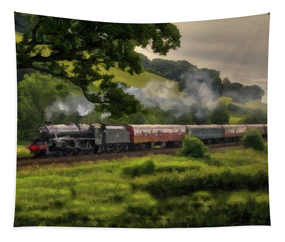 Train Tapestry featuring the photograph Country Train Ride by David Dehner