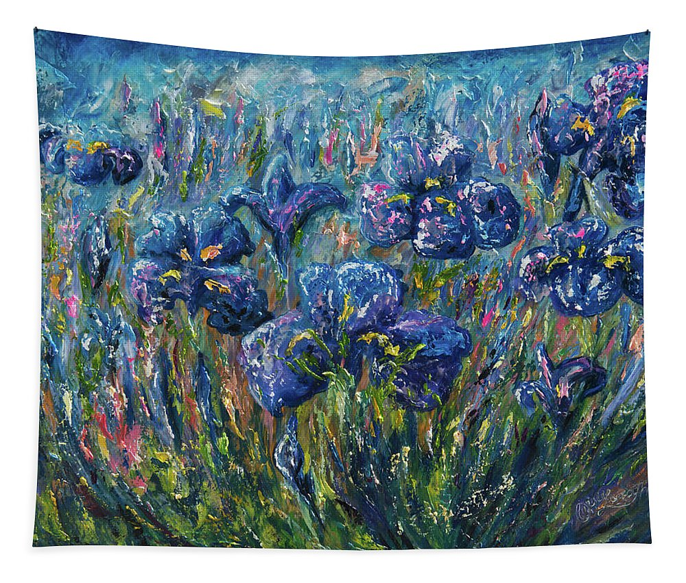Palette Knife Tapestry featuring the painting Countryside Irises Oil Painting With Palette Knife by OLena Art Brand