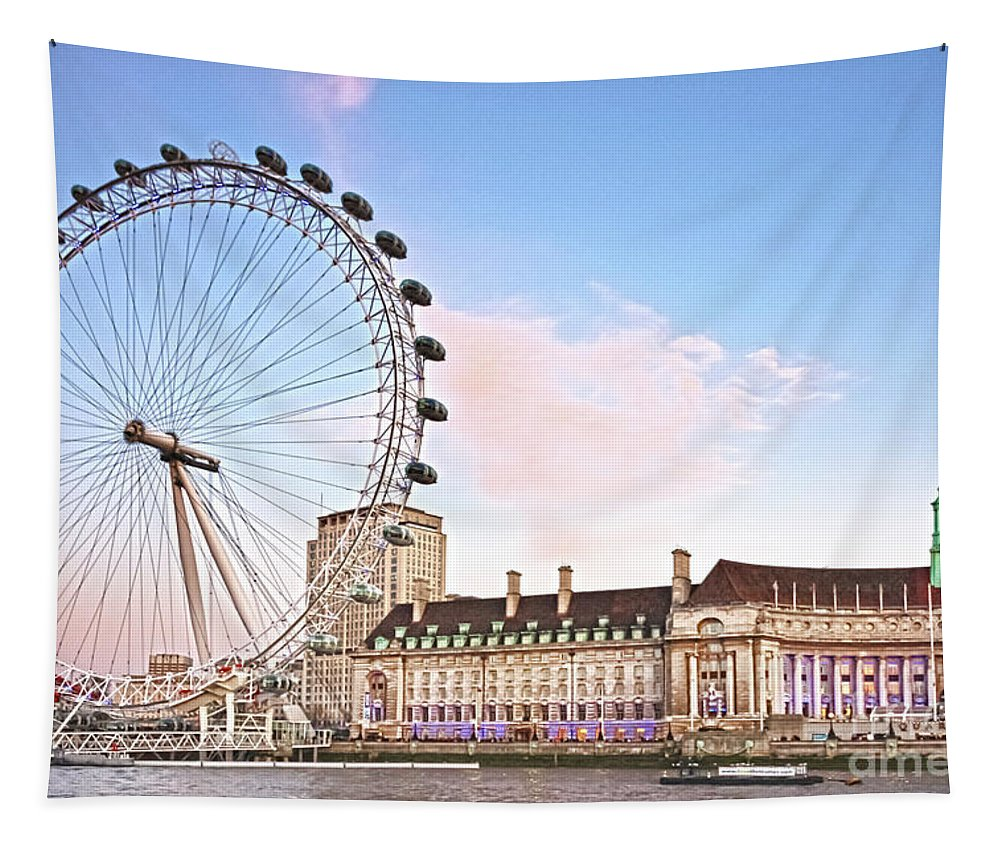 London Eye Tapestry featuring the photograph County Hall And London Eye by Terri Waters