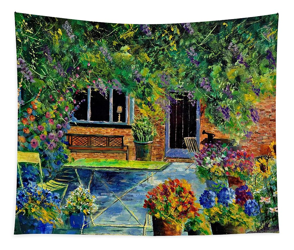 Flowers Tapestry featuring the painting Courtyard 79 by Pol Ledent