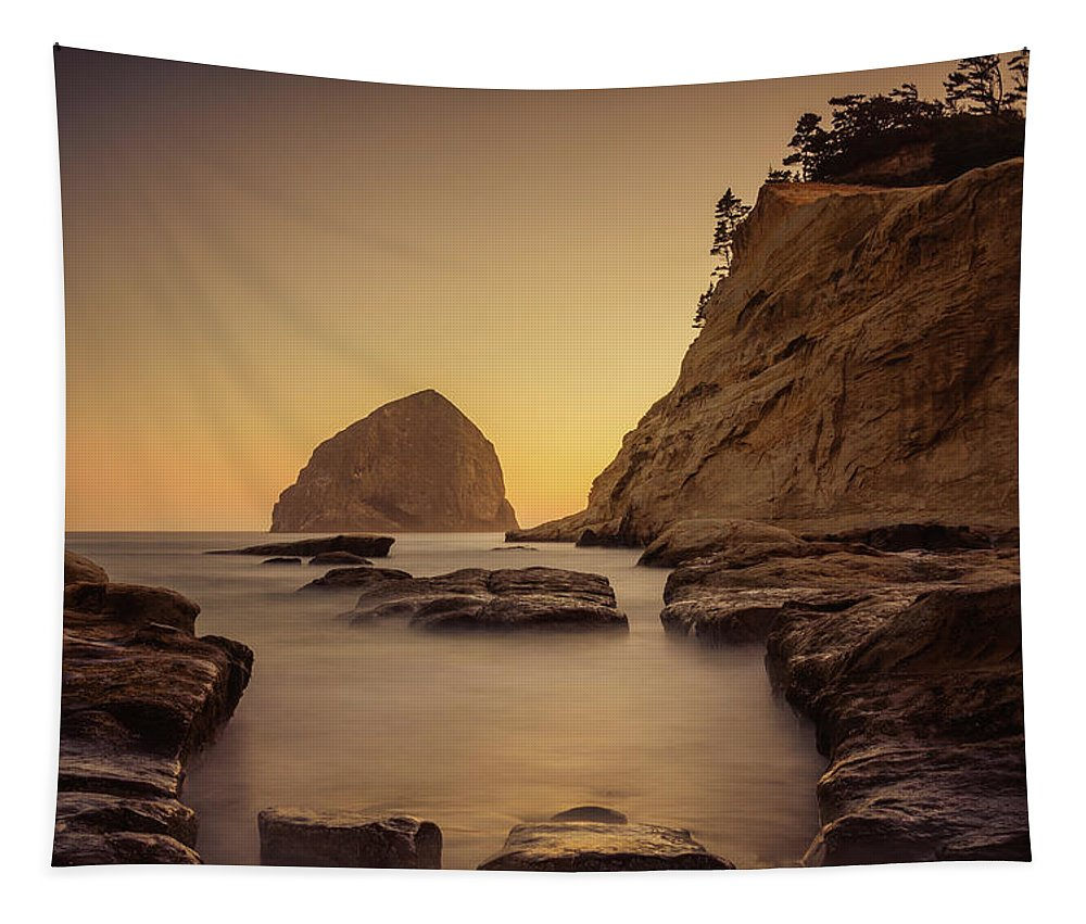 Cape Kiwanda Tapestry featuring the photograph Cove Sunset by Don Schwartz