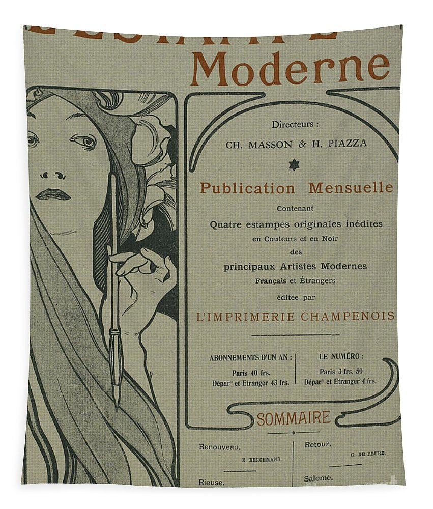 Art Nouveau Tapestry featuring the drawing Cover Page From Lestampe Moderne by Alphonse Marie Mucha