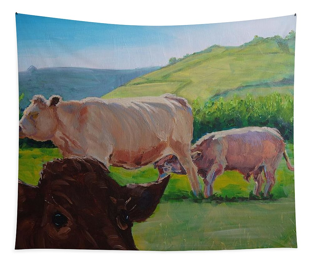 Mike Tapestry featuring the painting Cow And Calf Painting by Mike Jory