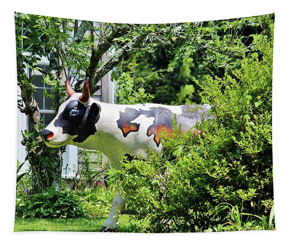 Cow Tapestry featuring the photograph Cow Statue by Cynthia Guinn