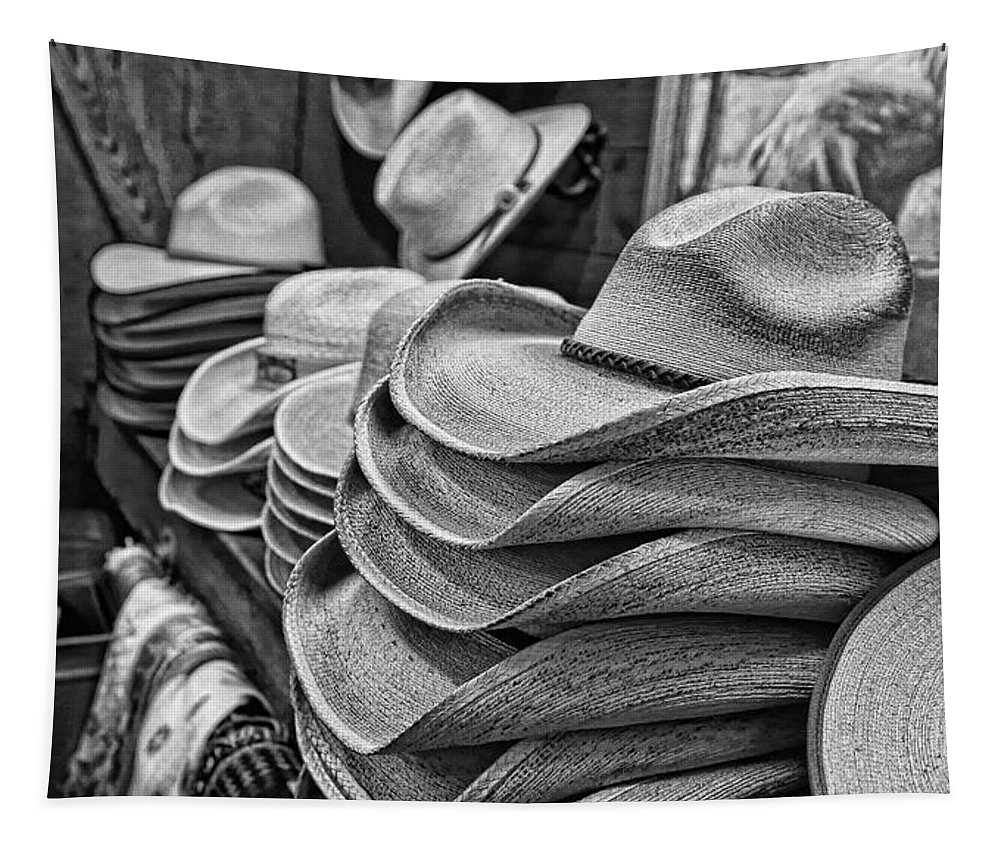 Cowboy Hat Tapestry featuring the photograph Cowboy Hats Black And White by Judy Vincent