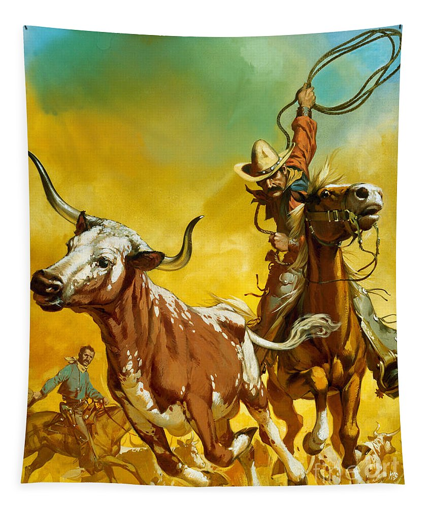 Cowboy Tapestry featuring the painting Cowboy Lassoing Cattle by Angus McBride