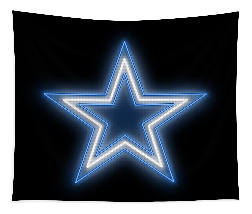 Dallas Tapestry featuring the digital art Cowboys Star Neon Sign by Ricky Barnard