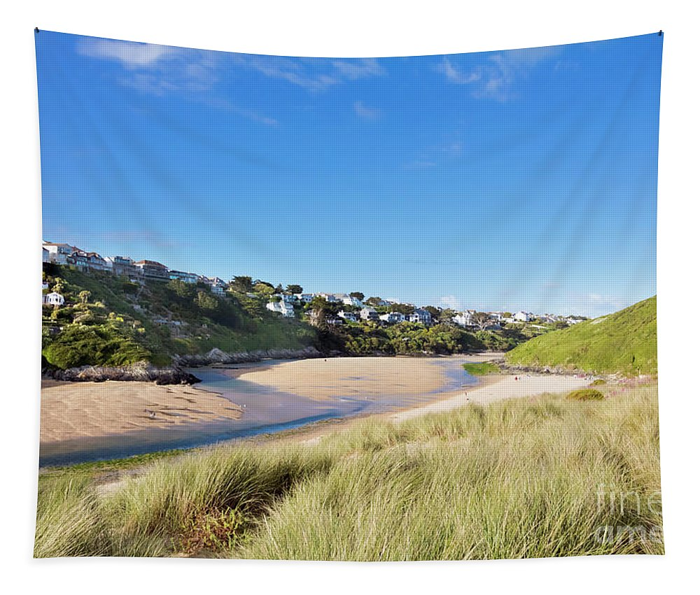 Crantock Tapestry featuring the photograph Crantock And The Gannel by Terri Waters