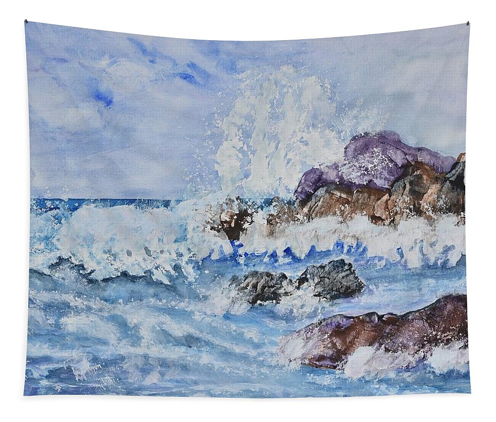 Linda Brody Tapestry featuring the painting Crashing Wave IIi by Linda Brody