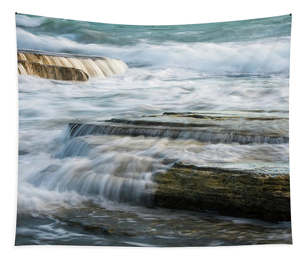 Sea And Ocean Tapestry featuring the photograph Crashing Waves On Sea Rocks by Michalakis Ppalis