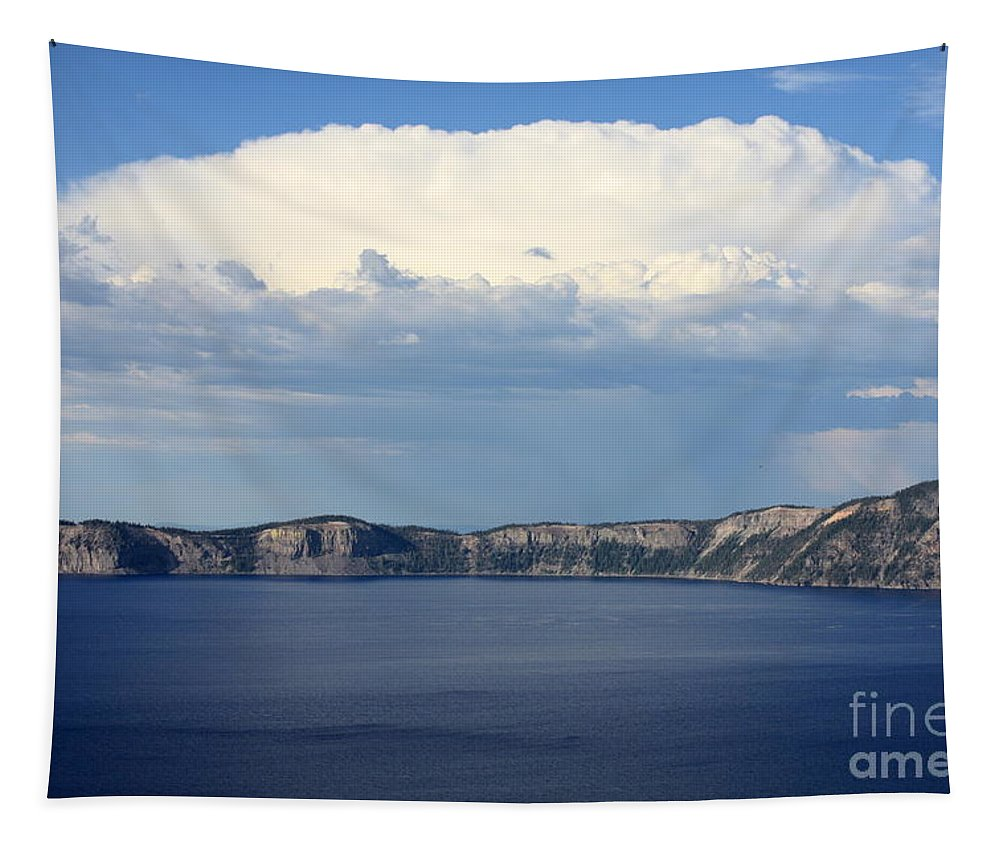 Clouds Tapestry featuring the photograph Crater Lake by Carol Groenen