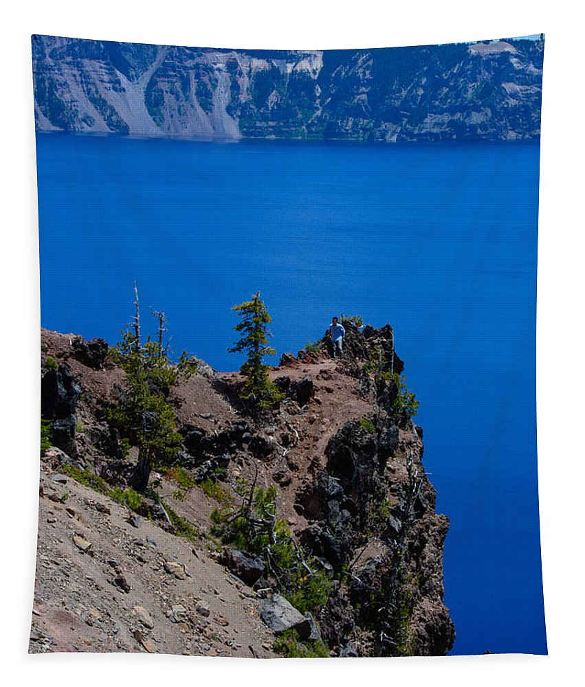Landscape Tapestry featuring the photograph Crater Lake Point Overlook by Tikvah's Hope
